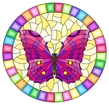 Illustration in stained glass style with bright pink butterfly on yellow background, oval picture in bright frame