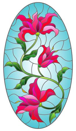 Illustration in stained glass style with a pink Lily flower on a blue background, oval image Reklamní fotografie - 135391286