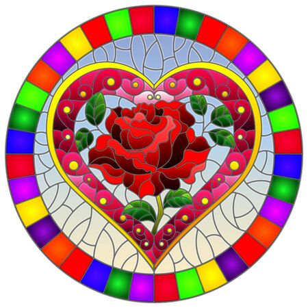 Illustration in stained glass style with bright pink heart and red rose flower on blue background, oval image in bright frame