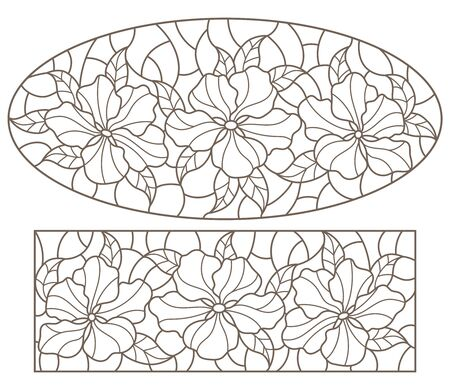 Set of contour stained glass illustrations with bouquets of flowers, horizontal  oriented, dark outlines on white background  イラスト・ベクター素材