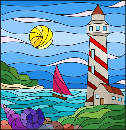 Illustration in stained glass style with seascape, lighthouse and sailboat on a background of sea and Sunny sky
