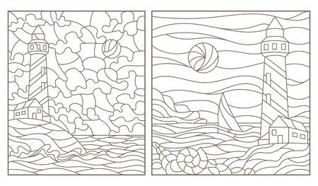 Ensemble d'illustrations de contour de vitraux avec des paysages marins, des phares sur le fond de la mer et du ciel ensoleillé