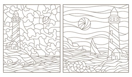 Set of contour illustrations of stained glass Windows with seascapes, lighthouses on the background of the sea and the Sunny sky