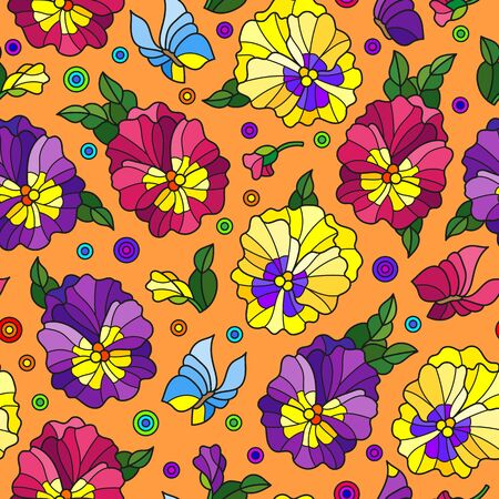 Seamless pattern with pansys and butterflies, bright flowers on orange background