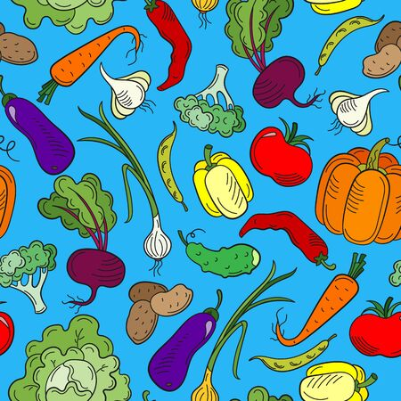 Seamless pattern on the theme of vegetables and healthy food, ripe bright vegetables on a blue background