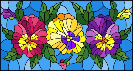 Illustration in stained glass style with flowers, buds , leaves and flowers of pansy Illusztráció