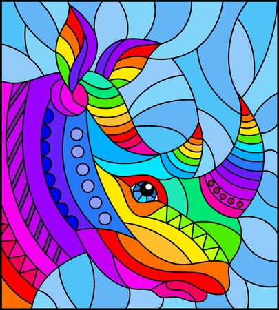 Illustration in the style of stained glass with abstract rainbow rhino head on a blue background rectangular image