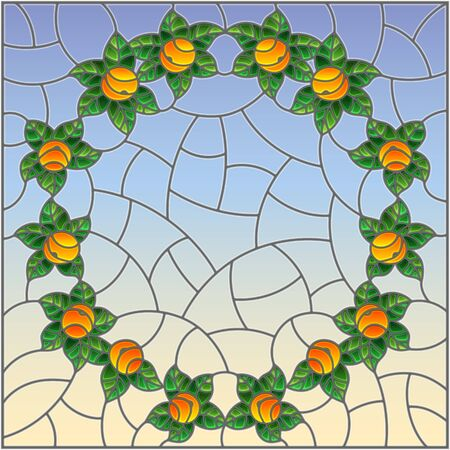 Illustration in stained glass style with oranges and leaves on a blue background Çizim