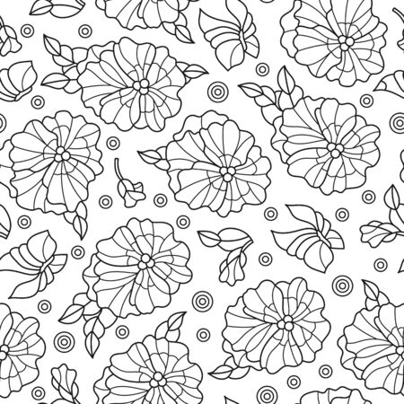 Seamless pattern with pansys and butterflies, contoured dark patterns on white background