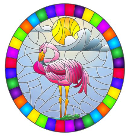 Illustration in stained glass style with Flamingo a pond in the sun, sky and clouds, oval image in bright frame