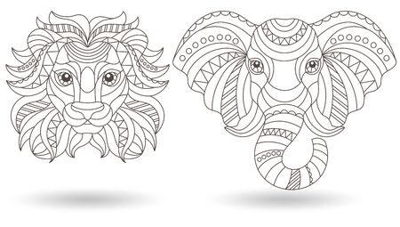 Set of contour illustrations of stained glass heads of an elephant and a lion, dark outlines on a white background Ilustracja