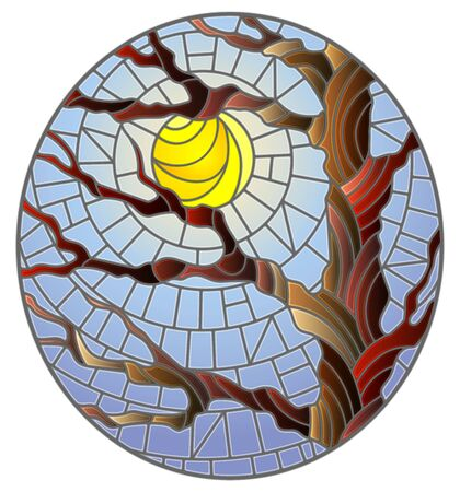 Illustration in stained glass style with autumn bare tree on sky background and sun, oval image