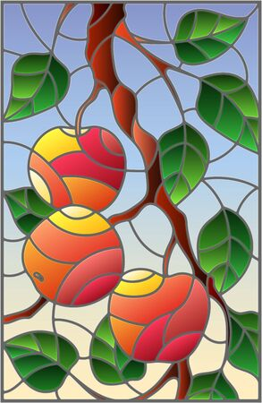 Illustration in the style of a stained glass window with the branches of Apple trees , the fruit branches and leaves against the sky Illustration