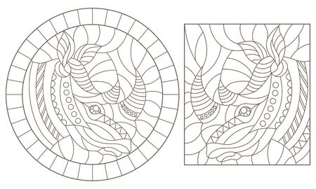 Set of contour illustrations of stained glass Windows with hino heads isolated on white background