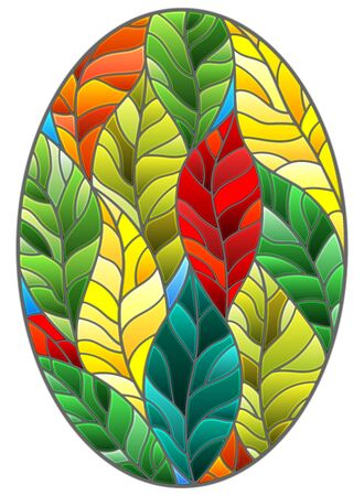 Illustration in stained glass style with colorful leaves  trees on a dark background, oval image Illustration