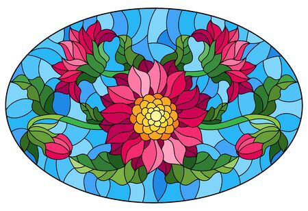 Illustration in stained glass style with a bouquet of asters, flowers,buds and leaves of the flower on blue background, oval image