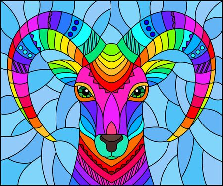 Illustration in the style of stained glass with abstract rainbow ram head on a blue background rectangular image