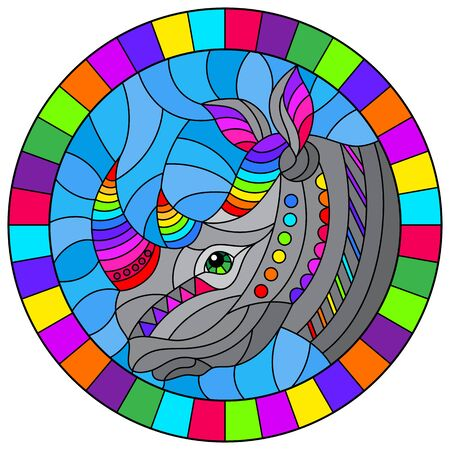 Illustration in the style of stained glass with abstract rainbow rhino head on a blue background , oval image in bright frame