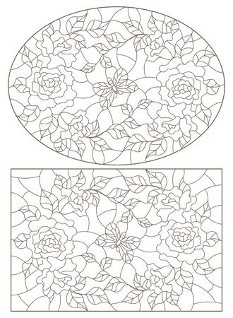 Set of contour illustrations of stained glass Windows with roses  and butterflies , oval and rectangular image, dark contours on a white background Illusztráció