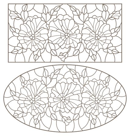 Set of contour illustrations of stained glass Windows with pansies flowers, dark outlines on a white background