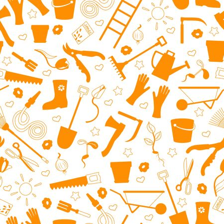 Seamless pattern on the theme of the garden , planting and growing harvest, a simple contour icons , orange silhouettes icons on a white background