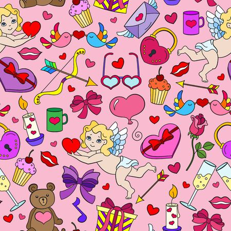 Seamless pattern on the theme of the holiday Valentine's Day, bright cartoon icons on a pink background