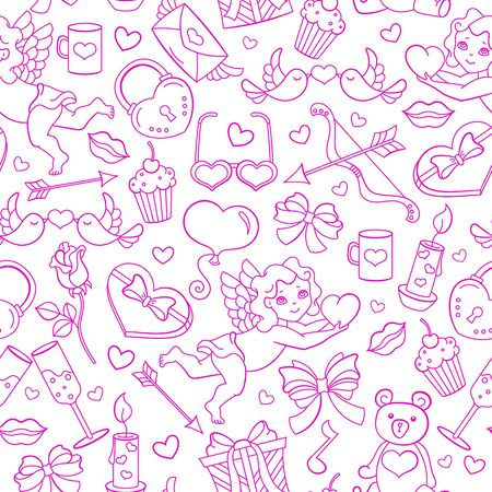 Seamless pattern on the theme of the Valentines Day holiday, pink contour icons on white background