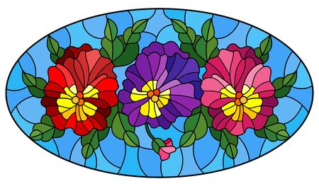 Illustration in stained glass style with flowers, buds , leaves and flowers of pansy, oval image Illusztráció