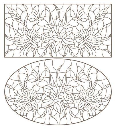 Satz Konturillustrationen von Glasfenstern mit Narzissen und Schmetterlingsblumen, ovales und rechteckiges Bild, dunkle Konturen auf weißem Hintergrund Vektorgrafik