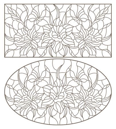 Set of contour illustrations of stained glass Windows with daffodils and butterflies flowers, oval and rectangular image, dark contours on a white background Ilustracje wektorowe