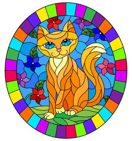 Illustration in stained glass style with a   red  cute cat on a background of meadows, bright flowers and sky, oval image in bright frame Illusztráció