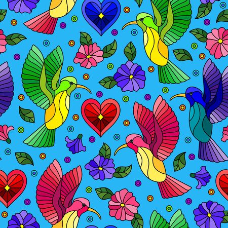 Seamless pattern with bright Hummingbird birds and flowers on a blue background Illusztráció