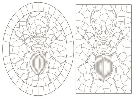 Set of contour illustrations of stained glass Windows with beetles, dark contours isolated on white background Illusztráció