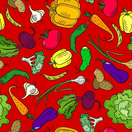 Seamless pattern on the theme of vegetables and healthy food, ripe bright vegetables on a red background Illustration