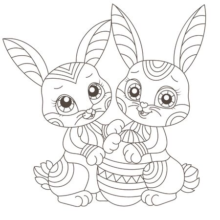Set of stained glass illustrations with contour cartoon rabbits and egg , dark outline isolated on white background
