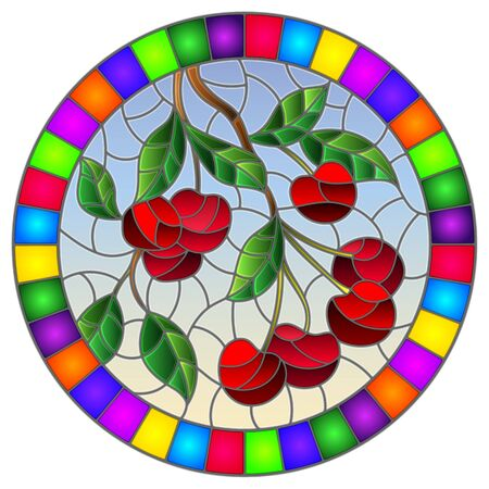 Illustration in the style of a stained glass window with the branches of cherry  tree , the  branches, leaves and berries against the sky, oval image in bright frame