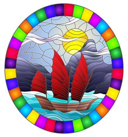 Illustration in stained glass style with the Eastern ship with red sails on the background of sky, sun and rocky shores Illusztráció