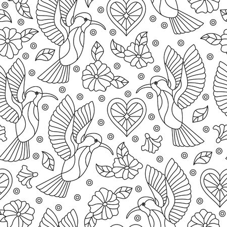 Seamless pattern with contour Hummingbird birds and flowers on a white background