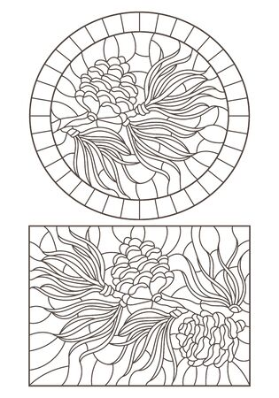 Set of contour stained glass illustrations with cedar cone on a branch , dark outlines on white background Illusztráció