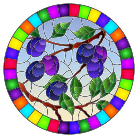 Illustration in the style of a stained glass window with the branches of plum  tree , the  branches, leaves and fruits against the sky, oval image in bright frame Illusztráció