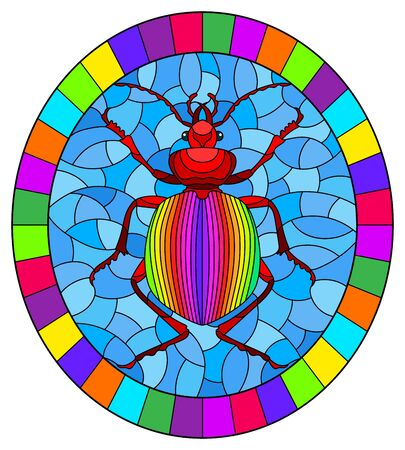 Illustration in stained glass style abstract in rainbow beetle on a blue background, the oval image in bright frame