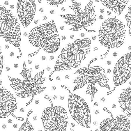 Seamless pattern with abstract  leaves, patterned dark tree leaves on a white background
