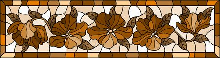Illustration in stained glass style with  flowers and leaves  , horizontal image in bright frame, tone brown, sepia