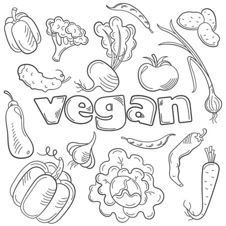 Set of contour icons on the theme of vegetarian food, outline icons isolated on a white background