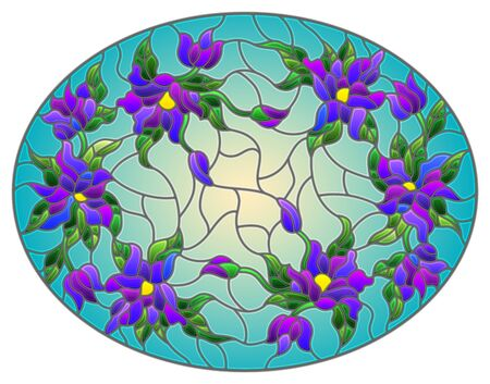 Illustration in stained glass style with floral arrangement of flowers, purple  flowers and leaves on a yellow background, oval image