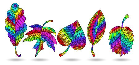 Set of illustrations in stained glass style with rainbow patterned leaves, isolated on a white background