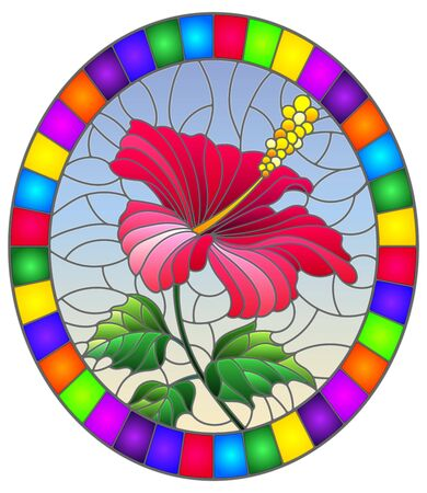 Illustration in stained glass style with flower, buds and leaves of pink hibiscus on sky background, oval image in bright frame
