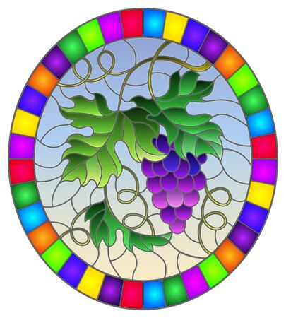 The illustration in stained glass style painting with a bunch of red grapes and leaves on a blue background, oval image in bright frame  Illusztráció