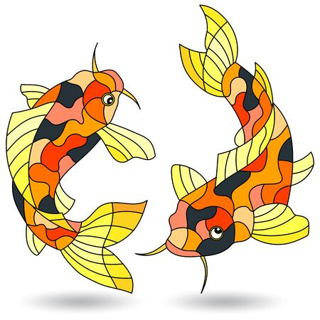 Set of illustrations in stained glass style with koi carp fish, isolated on a white background