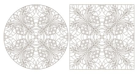 Set of contour illustrations with abstract floral patterns, round and square image, dark contours on white background Illusztráció